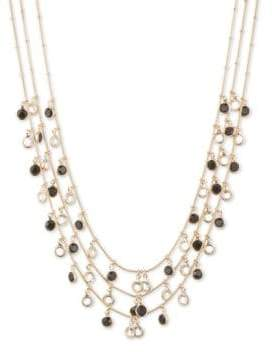 Anne Klein Shaky Jet Circle Drop Three-Strand Necklace