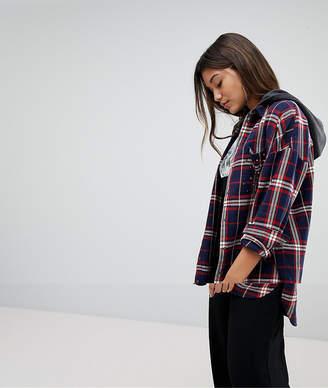 Noisy May Check Shirt With Hood