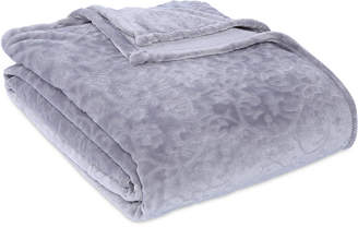 Berkshire VelvetLoft Frosted Floral Damask Scroll Plush Twin Blanket Bedding