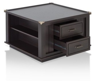 Furniture of America Higgens Traditional Square Storage Coffee Table
