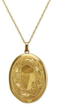 Lord & Taylor 14K Gold Engraved Oval Locket Necklace $1,560 thestylecure.com