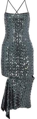 Milly Asymmetric Sequined Mesh Dress