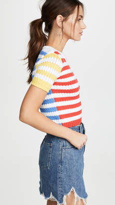 Alice + Olivia Ciara Short Sleeve Cropped Cable Sweater