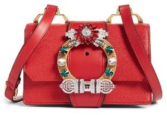 Miu Miu Madras Crystal Embellished Leather Shoulder Bag - Red $2,100 thestylecure.com