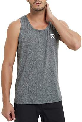 RADHYPE Men Polyester Classic Fit Sleeveless Athletic Tshirt Training Tank Top Grey M