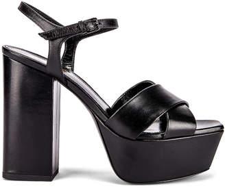 Saint Laurent Farrah Ankle Strap Platform Sandals in Black   FWRD