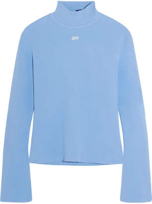 Off-White - Angel Stretch-knit Turtleneck Top - Sky blue $735 thestylecure.com
