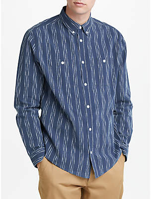 John Lewis & Co. Mariposa Textured Long Sleeve Shirt, Indigo