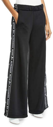 Alexander Wang Sleek Wide-Leg Logo Snap-Up French Terry Pants