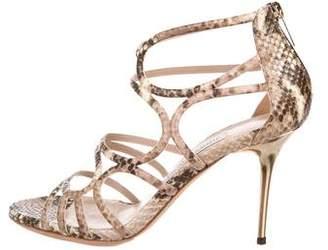 Jimmy Choo Snakeskin Mid-Heel Sandals