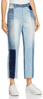 Sjyp Tomboy Straight-Leg Patchwork Jeans in Denim