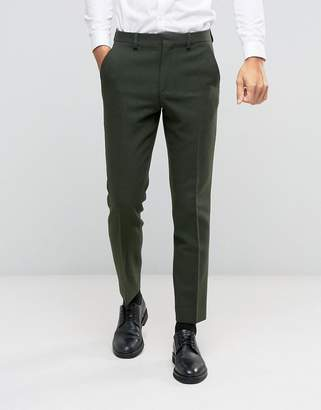 Asos Slim Suit Pant In Khaki In 100% Wool