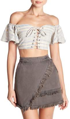 Mustard Seed Lace-Up Off-the-Shoulder Cropped Top