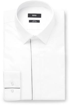 HUGO BOSS White Ivan Slim-Fit Cotton-Poplin Tuxedo Shirt