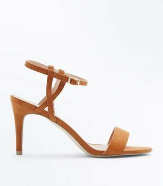New Look Tan Suedette Twist Strap Heeled Sandals