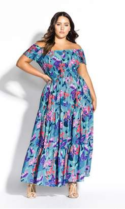 City Chic Citychic Mystery Floral Maxi Dress - mint