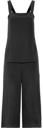 Theory - Dinnlean Layered Silk Crepe De Chine Jumpsuit - Black $395 thestylecure.com