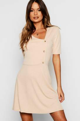 boohoo Horn Button Short Sleeve Skater Dress