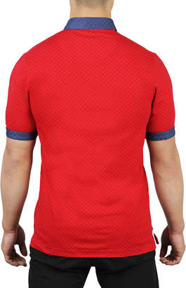 Maceoo Square-Jersey Contrast-Trim Polo Shirt, Red