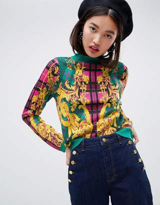 Asos Design DESIGN jumper in check and barroque pattern