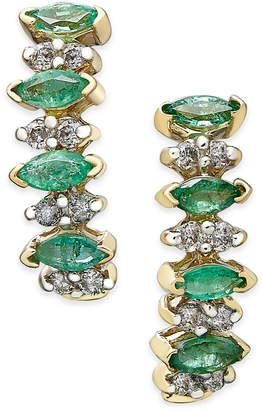 Macy's Emerald (3/4 ct. t.w.) and Diamond (1/4 ct. t.w.) Earrings in 14k Gold