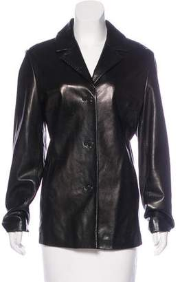 Andrew Marc Leather Button-Up Jacket