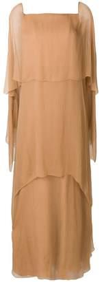 Alberta Ferretti layered evening dress with asymmetrical sleeves