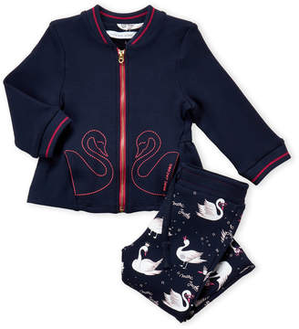 Little Marc Jacobs Infant Girls) Two-Piece Zip-Up Jacket & Swan Leggings Set
