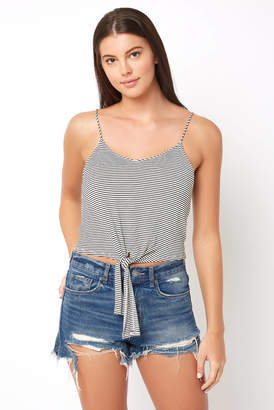 Hashtag V Neck Striped Tie Front Tank Top