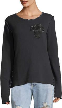 Made on Grand Beaded-Cross Crewneck Sweatshirt