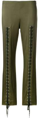 Moschino eyelet lace front slim trousers