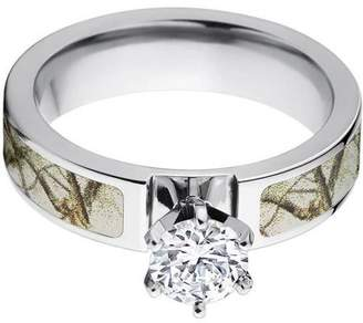 ONLINE 1 Carat T.G.W. Round CZ in 14kt White Gold Setting Cobalt Camo Engagement Ring with a RealTree Snow Camo Inlay