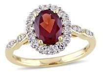 Sonatina 14K Yellow Gold, Garnet, White Topaz & Diamond Halo Vintage Ring