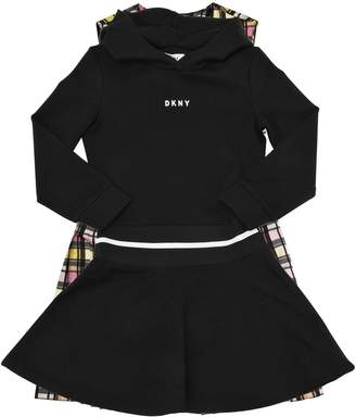 DKNY Logo Printed Hooded Milano Jersey Dress