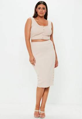 Missguided Sand Curve Ribbed Midi Skirt