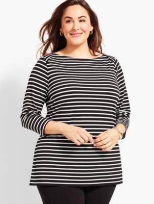 Talbots Plus Size Exclusive Knit Jersey Envelope-Neck Tunic-Derby Stripe