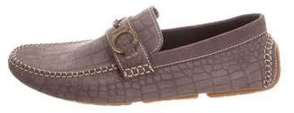 Jimmy Choo Embossed Suede Driving Loafers w/ Tags