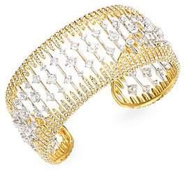 84868e867802 Adriana Orsini Greta Rhodium   Gold Plated Swarovski Crystal Cuff Bracelet