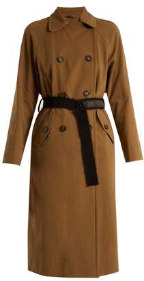 Brunello Cucinelli - Double Breasted Cotton Gabardine Trench Coat - Womens - Brown