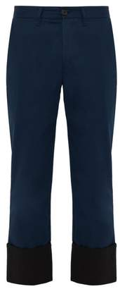 Loewe Fisherman Cotton Twill Chino Trousers - Mens - Black Blue