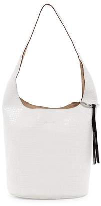 Elizabeth and James Finley Courier Croc Embossed Leather Bucket Bag