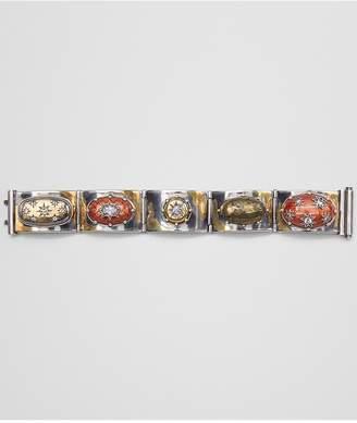 Bottega Veneta Natural Brown Antique Silver Stellular Bracelet