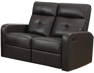 Monarch Specialties Monarch Reclining Love Seat Charcoal Grey Bonded Leather