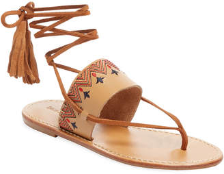 Soludos Embroidered Leather Lace-Up Sandal