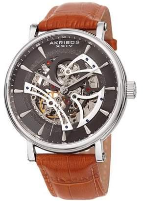Akribos XXIV Silver Tone Casual Automatic Watch With Leather Strap [AK1020SSBR]