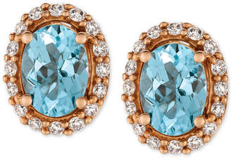 LeVian Le Vian Sea Blue Aquamarine (1-1/6 ct. t.w.) and Diamond (1/4 ct. t.w.) Stud Earrings in 14k Rose Gold