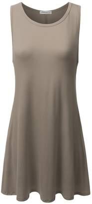 JJ Perfection Women's Basic Sleeveless Pockets Casual Swing T-Shirts Top Tunic Dress DARKMOCHA 1XL
