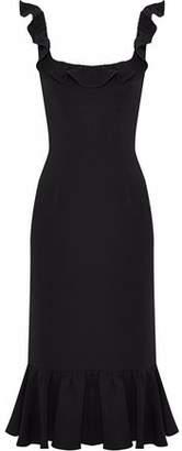 Cinq à Sept Opalina Fluted Ruffle-Trimmed Crepe Dress
