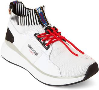 Roberto Cavalli Sport White Knit Low-Top Sneakers