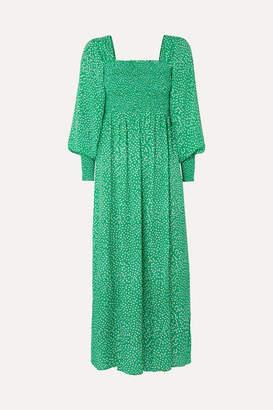 Rixo Marianne Shirred Floral-print Crepe De Chine Midi Dress - Green